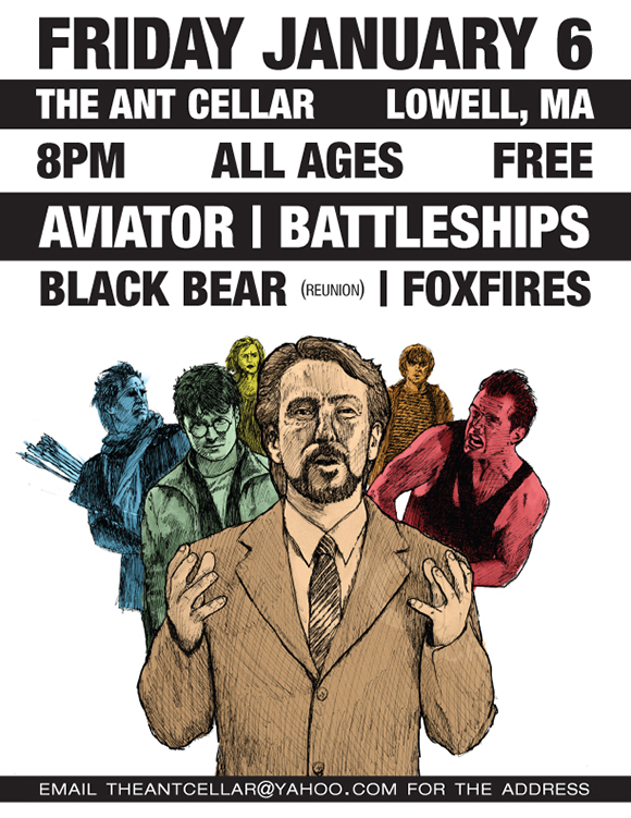 Illustrated flier featuring Alan Rickman, Bruce Willis, Kevin Costner, and the cast of Harry Potter with digital color and type for a basement punk show