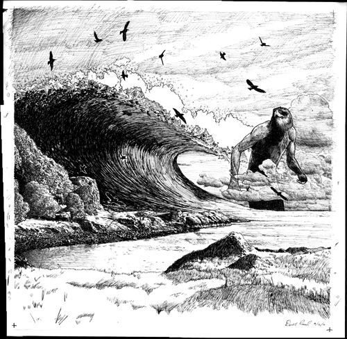 ink drawing of a bird-man behind a tidal wave