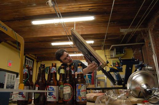 joe cleaning a screen