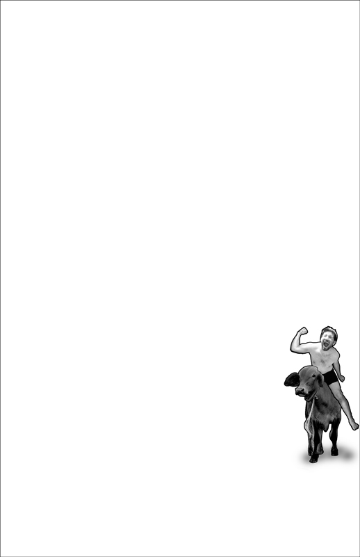 Josh riding a cow